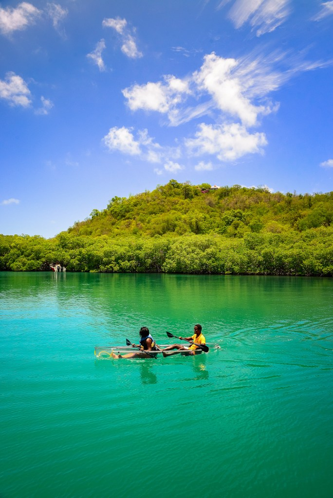 Two people kayaking in Martinique
