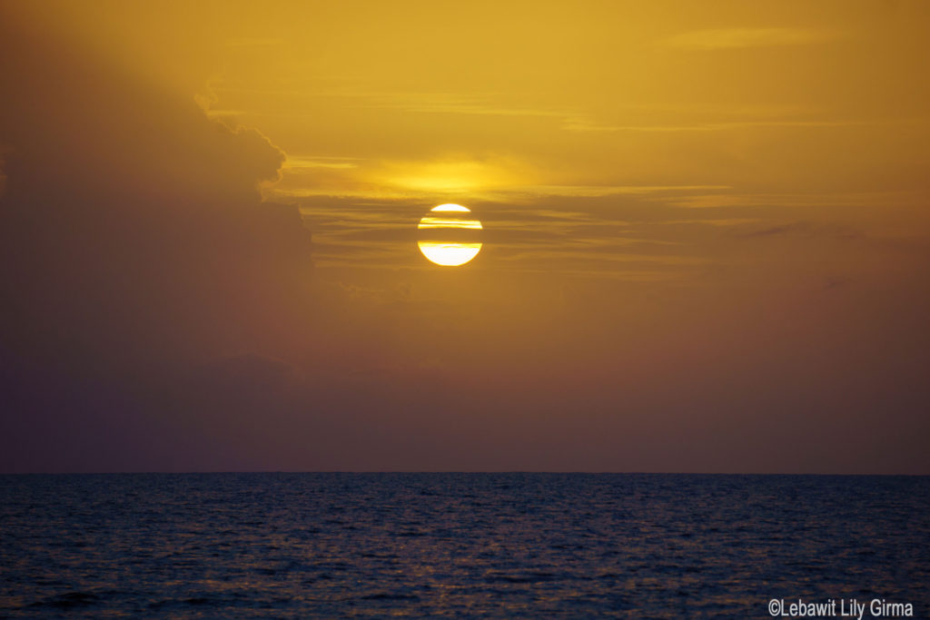 Sunset over sea in Monte Cristi, Dominican Republic.