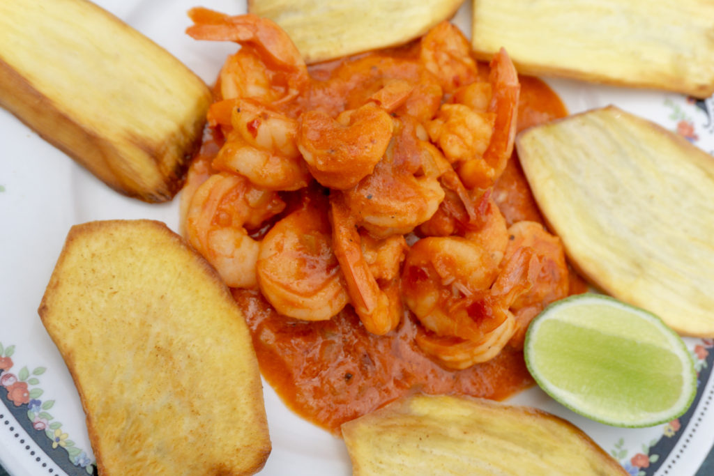 A plate of shrimp and tostones in Nagua, Dominican Republic.