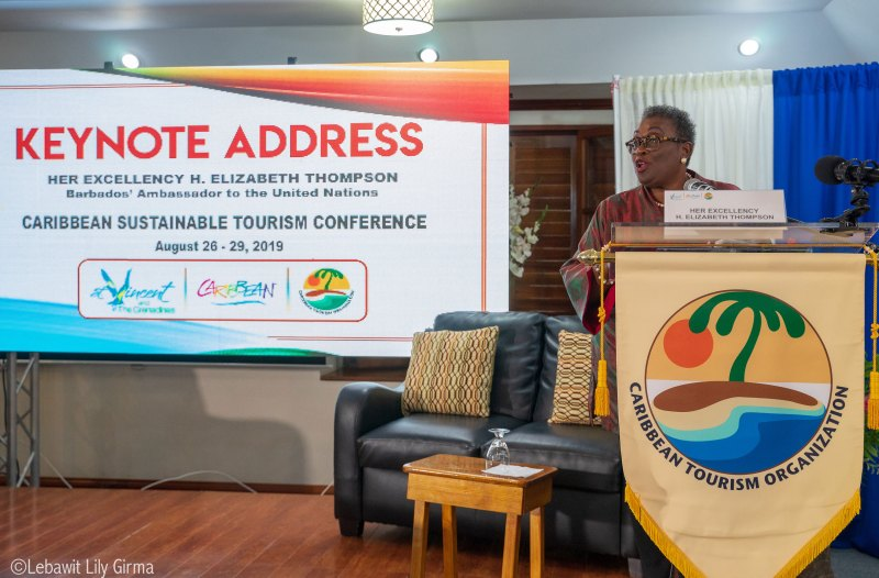 UN Ambassador Elizabeth Thompson speaking at Caribbean 2019 Sustainable Tourism Conference