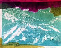 Blue ink with tissue paper, I like the mixed media in this one. The tissue acts as the bank of the river. The white smudgie effect in the river shows the currents of the river.