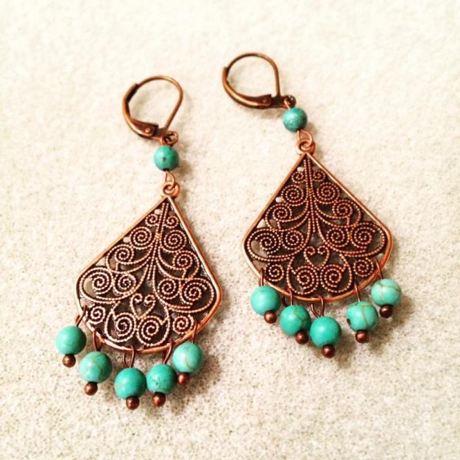 Turquoise Chandelier Earrings In Antique Copper 25