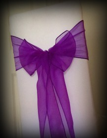 Cadbury purple bow, Chair covers Glasgow, Lily Special Events