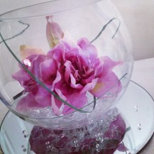 Fishbowl centrepiece by Lily Special Events - East Kilbride, Glasgow, Centrepieces and chair covers - wedding venue decor