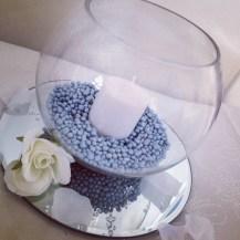 Fishbowl centrepiece by Lily Special Events - Wedding venue decor East Kilbride, Glasgow, Scotland