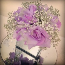 Lilac rose and gyp centrepiece by Lily Special Events - Wedding venue decor central Scotland, Glasgow