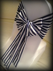 Navy blue stripe bow from Lily Special Events, South Lanarkshire