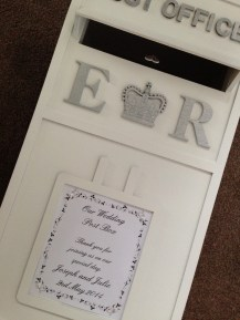 Personalised wedding post box to hire in Glasgow, central Scotland, Lanarkshire and surrounding areas