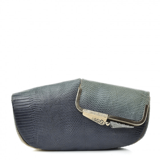 Fashionphile Fabulous Finds - September - Fendi Lizard Ombre Origami Borderline Clutch