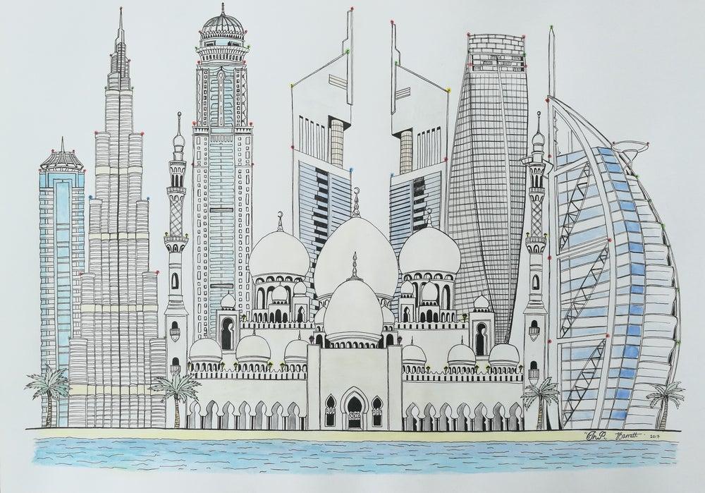illustration dubai city
