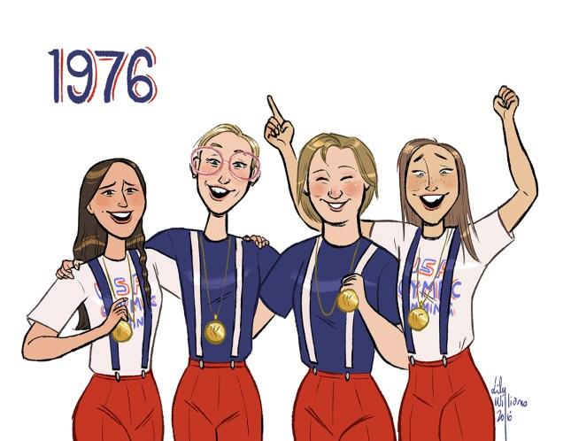 Kim Peyton, Wendy Boglioli, Jill Sterkel, Shirley Babashoff of the 1976 womens Olympic 4 x 100 meter freestyle relay team.