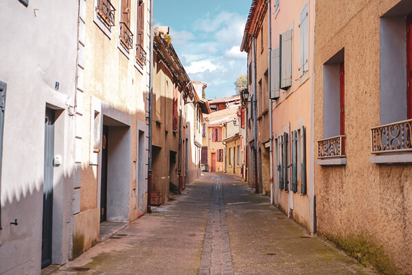 Quiet empty street in Carcassonne in south of France