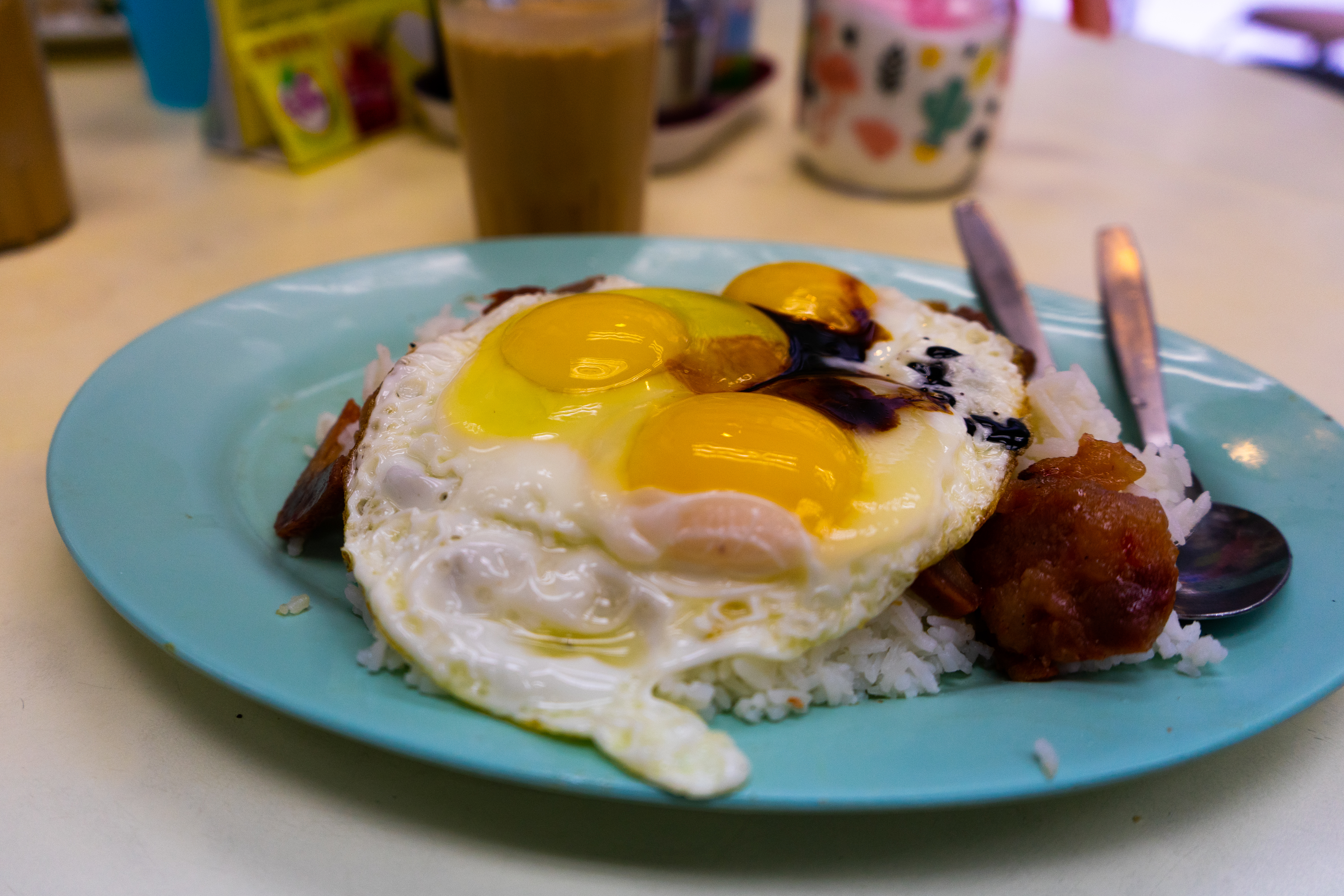 Char Siu and Fried Eggs on rice at Ma Sa Restaurant, one of the best local foods in Sheung Wan, Hong Kong