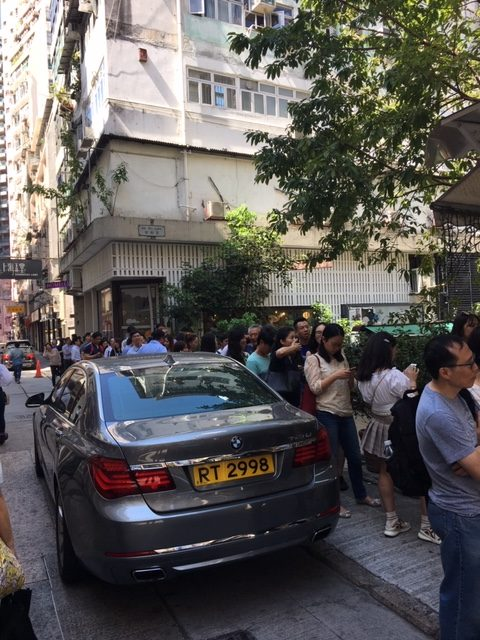 Lunchtime line outside Kau Kee Restaurant Sheung Wan in Hong Kong , one of the best local foods in Sheung Wan