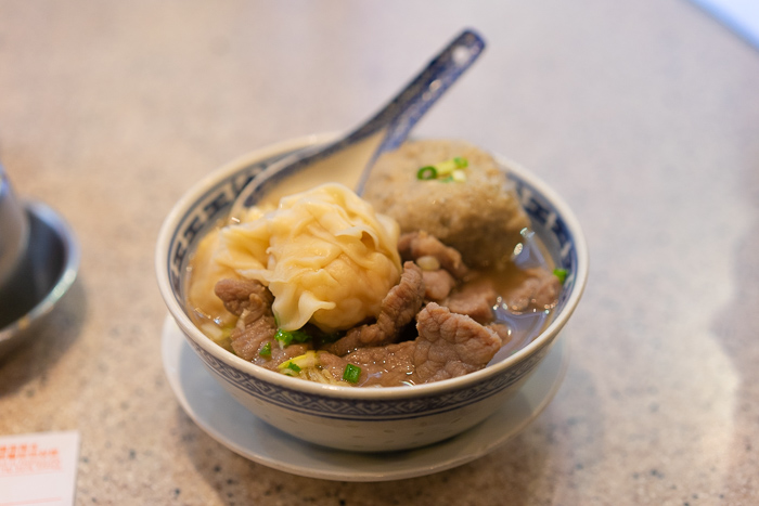 Wonton noodles with wontons and meatballs at Tsim Chai Kee in Central Hong Kong
