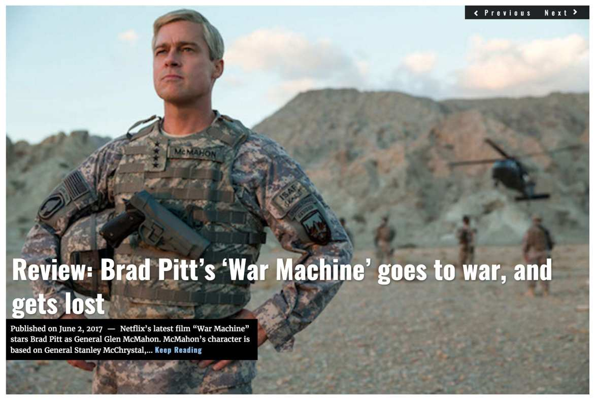 Image Lima Charlie News headline June 2, 2017 'Review: Brad Pitt's War Machine goes to war, and gets lost'