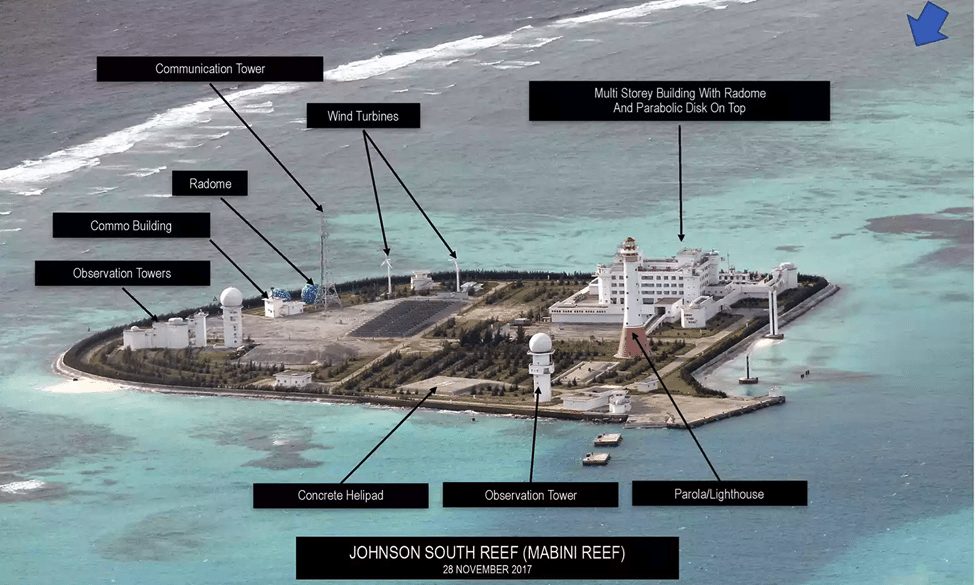 Image (Facilities on Johnson South Reef. Photograph: Inquirer.net/Philippine Daily Inquirer)