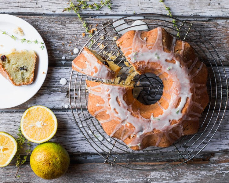 Cranberry Orange Bundt with Thyme glaze