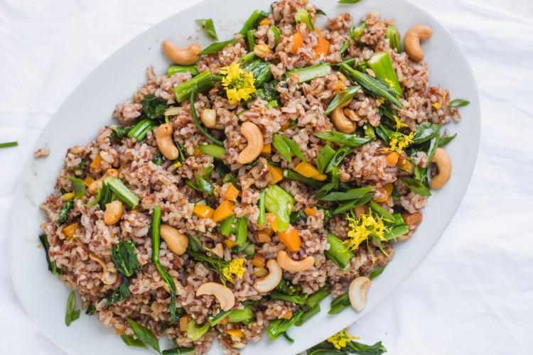 Choy Sum Moruga Hill Rice