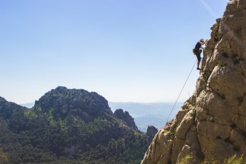 """Me leading the """"pumpy 3"""" -- such nice views the entire way up! -- El Chorro"""