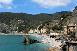 We began up the wrong trail initially, but we found a nice view of the beach from in Monterosso.