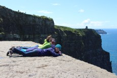 Aileen, Me, Aislinn -- peering over the edge at the Cliffs of Moher