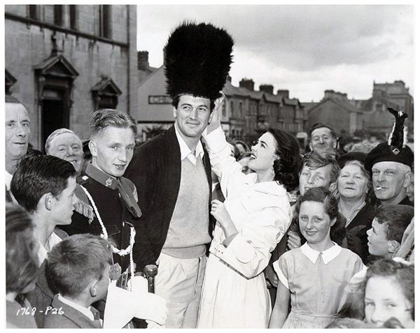 Rock Hudson and Barbara Rush visit in 1954