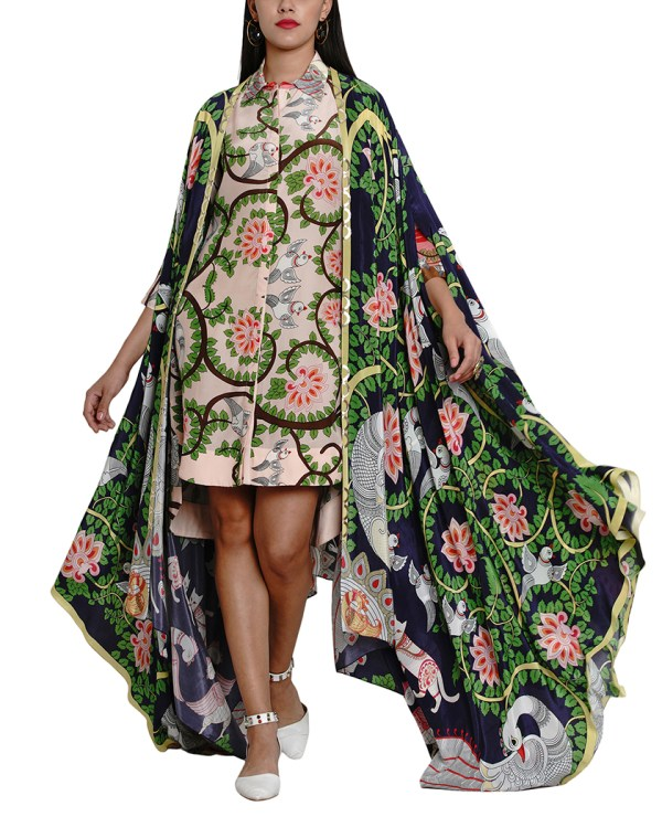 Printed Draped Cape