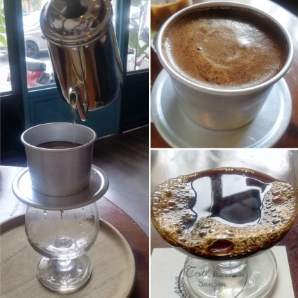 Three photos of a Vietnamese coffee. Pouring it in to a glass, coffee slowly dripping and finished coffee in a glass.