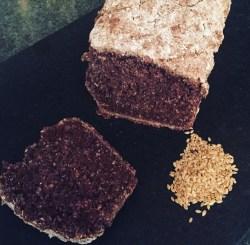 cocoa brown bread on a black marble board