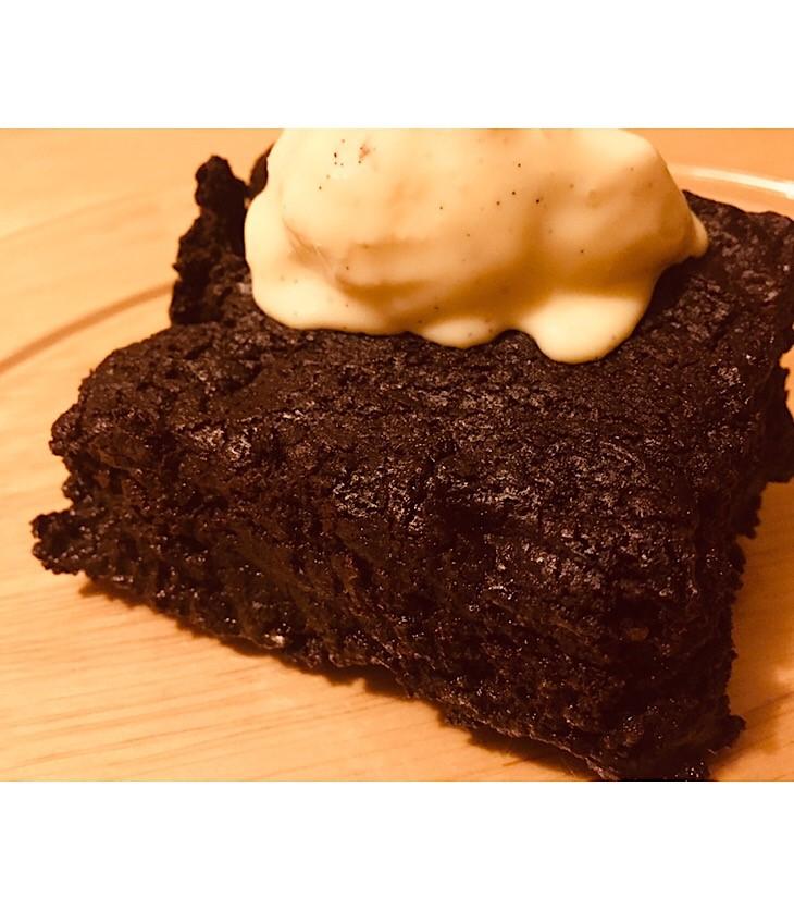 Chocolate Brownie with vanilla ice-cream on top