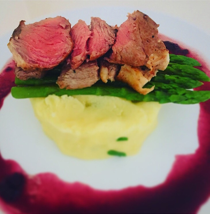 Lamb chops with asparagus, chive mashed potato and red wine sauce