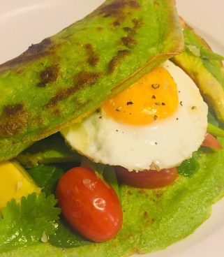 Healthy green spinach pancakes that are bursting with flavor and healthy for your body. Served on a white plate.