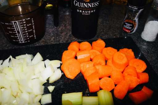 Vegetables for your stew consist of carrots, onions, celery and garlic.