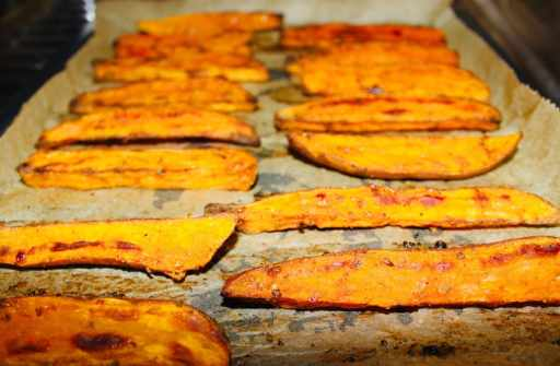 Cooked wedges. Looking sweet and crispy on the sheet pan.