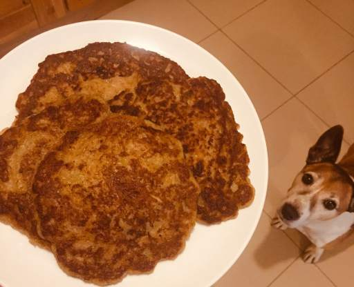 Jack the dog eagerly watching a plate of hot crispy boxty pancakes.