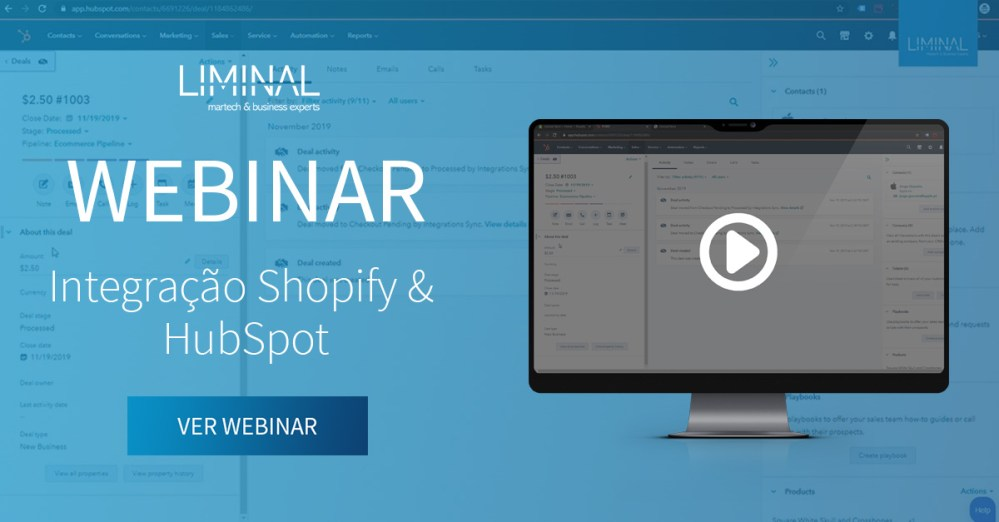 Shopify, HubSpot, integração, ecommerce, loja virtual