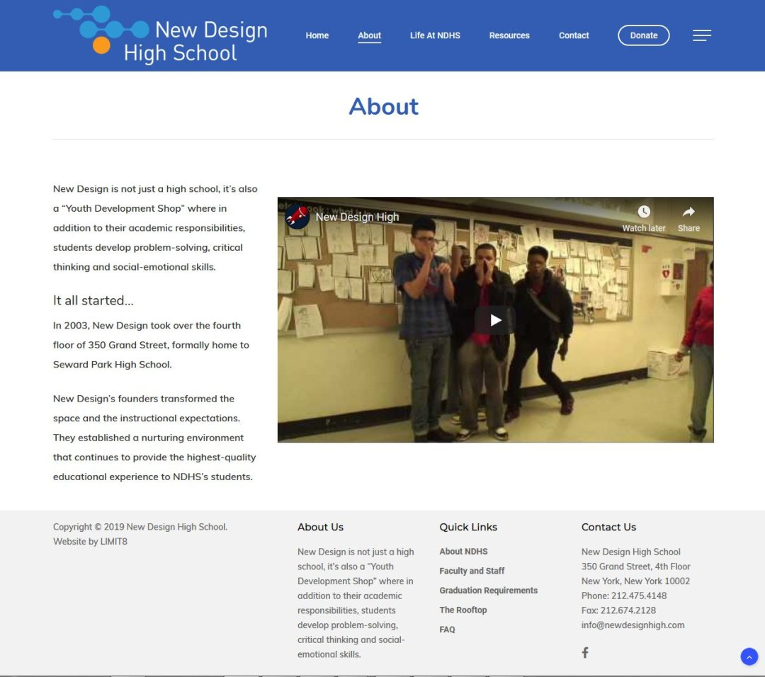 New Design High School, About page redesigned by LIMIT8 Design