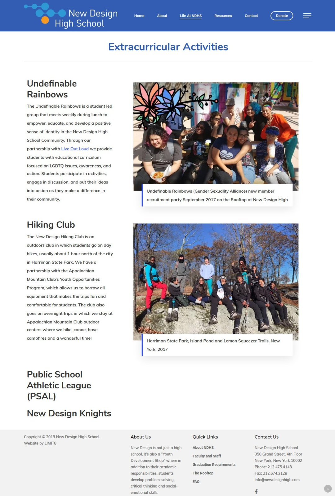 New Design High School, Extracurricular page redesigned by LIMIT8 Design