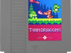 twin dragons broke studio nes cartridge label