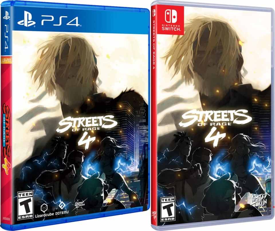 streets of rage 4 standard edition physical release dotemu limited run games ps4 nintendo switch cover limitedgamenews.com