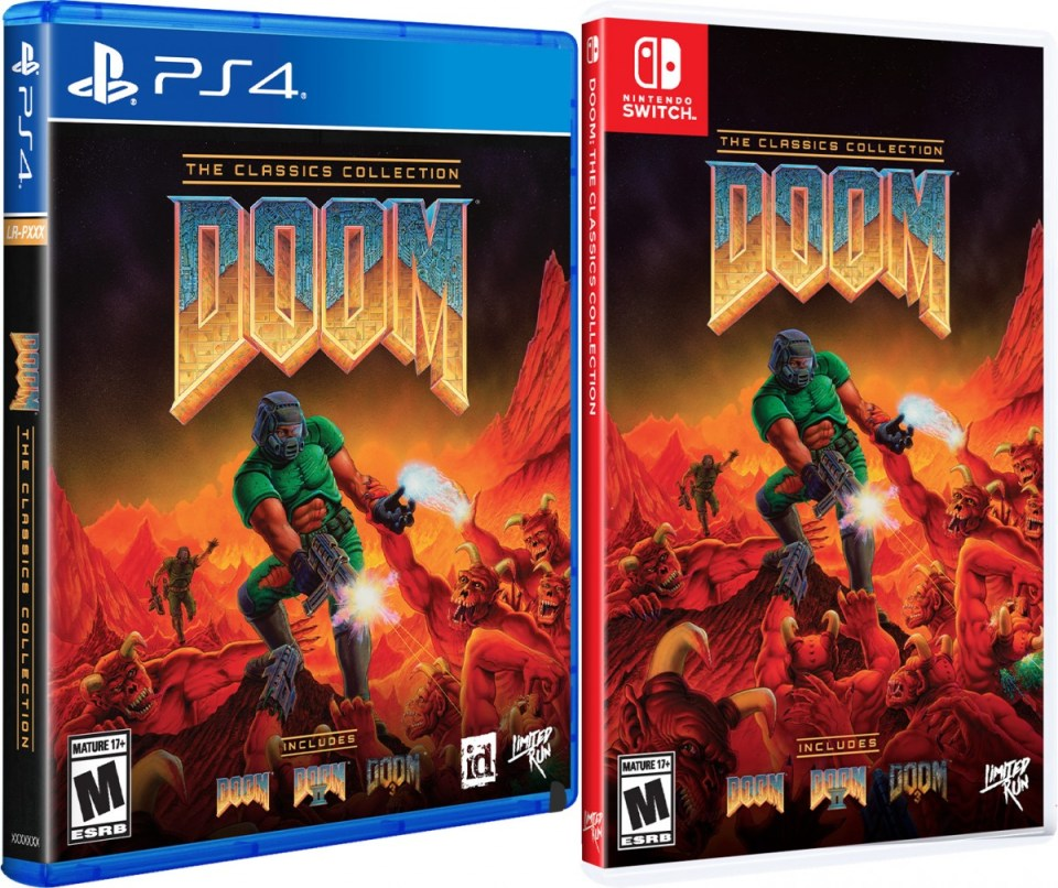doom the classics collection physical retail release limited run games standard edition playstation 4 nintendo switch cover www.limitedgamenews.com