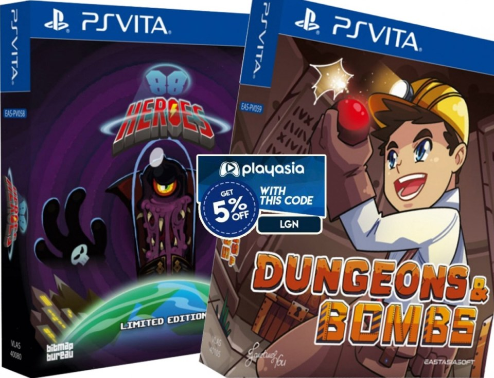 coupon play-asia 88 heroes dungeons & bombs physical retail asia multi-language release limited edition eastasiasoft playstation vita cover-www.limitedgamenews.com
