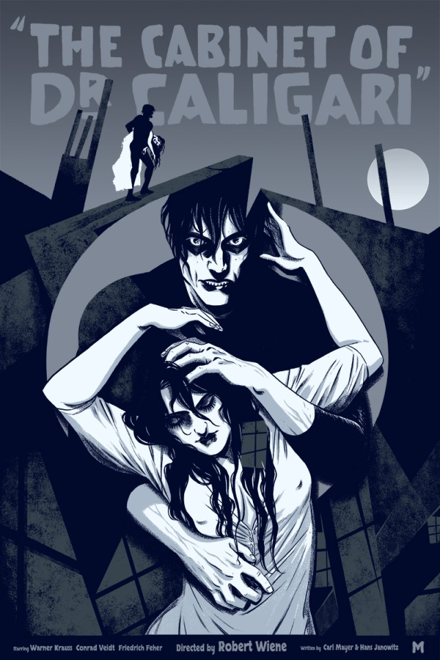 "「カリガリ博士」 The Cabinet of Dr. Caligari  by Becky Cloonan.  16""x24"" screen print. Hand numbered. Edition of 225.  Printed by D&L Screenprinting.  US$40"