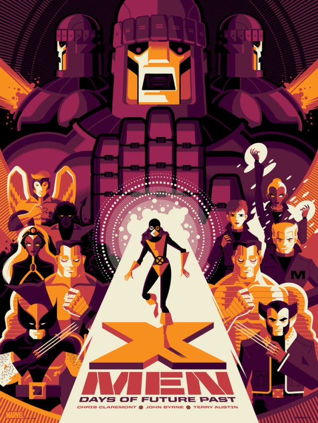 "「X-Men:デイズ・オブ・フューチャーパスト(バリアント)」 X-Men: Days of Future Past  (Variant) by Tom Whalen.  18""x24"" screen print. Signed & Hand numbered.  Edition of 150.  Printed by D&L Screenprinting.  US$65"