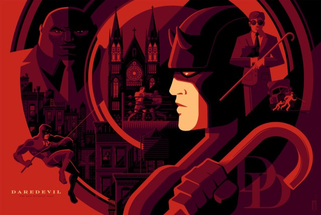 "「デアデビル」 Daredevil  by Tom Whalen.  36""x24"" screen print.  Signed & Hand numbered.  Edition of 275.  Printed by D&L Screenprinting.  US$50"