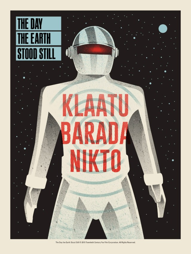 "The Day the Earth Stood Still  by Methane Studios.  18""x24"" screen print. Hand numbered. Edition of 150.  Printed by D&L Screenprinting.  US$40"