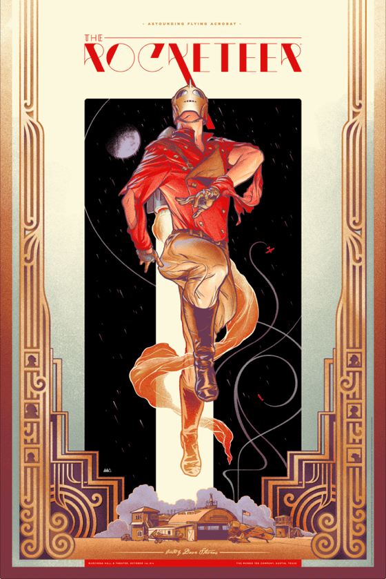 "「ロケッティア」レギュラー The Rocketeer  by Martin Ansin.  24""x36"" screen print. Hand numbered.  Edition of 400.  Printed by D&L Screenprinting.  US$50"