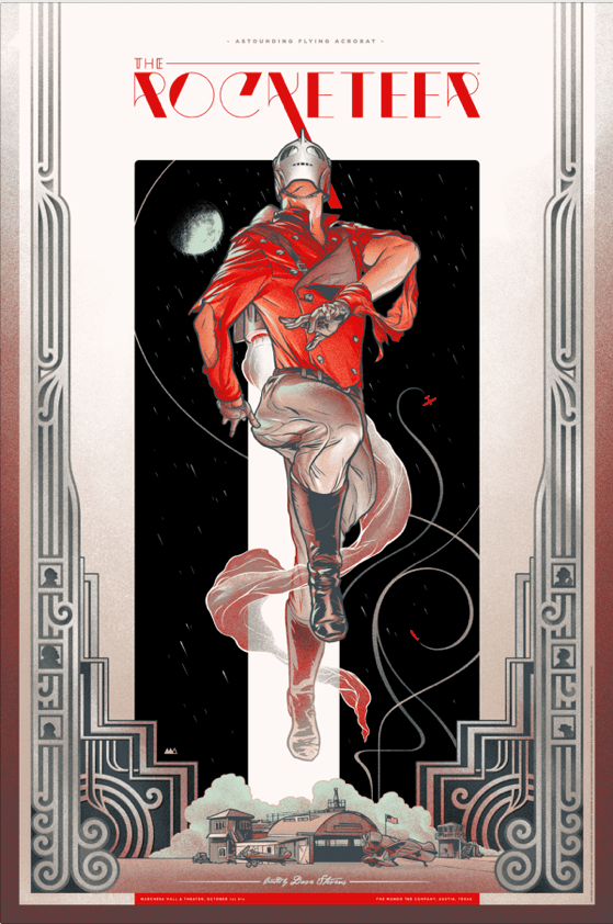 "「ロケッティア」バリアント The Rocketeer (Variant) by Martin Ansin. 24""x36"" screen print. Hand numbered. Edition of 200. Printed by D&L Screenprinting. US$75"