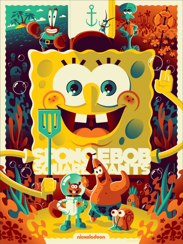 "「スポンジ・ボブ」 Spongebob Squarepants by Tom Whalen. 18""x24"" screen print. Hand numbered. Edition of 350. Printed by D&L Screenprinting. US$40"